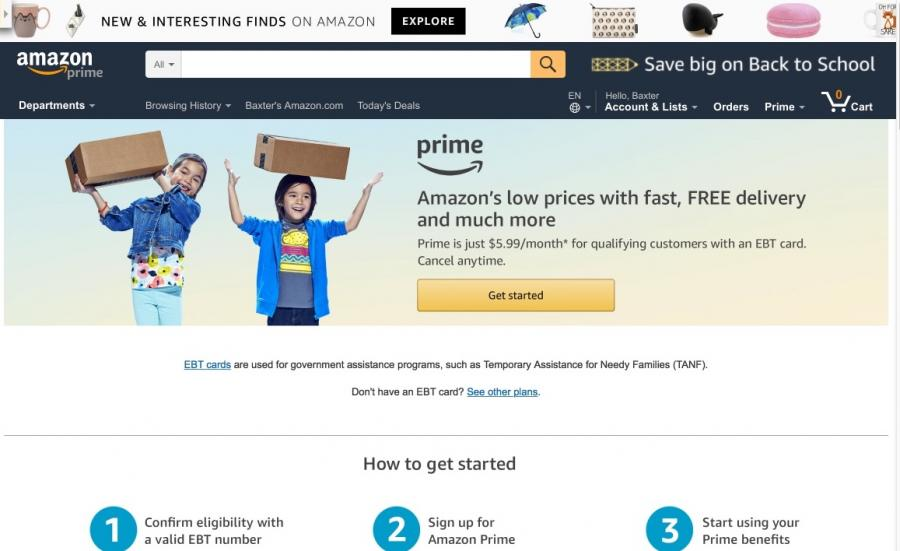 Amazon Prime for EBT card holders