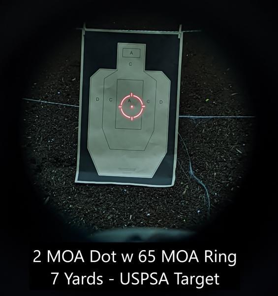 Name:  2 MOA dot + 65 MOA Ring - 7 yards - Chest.jpg Views: 25 Size:  39.2 KB